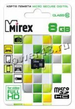 Память micro SDHC 8Gb Class10 без адаптера Retail Купить