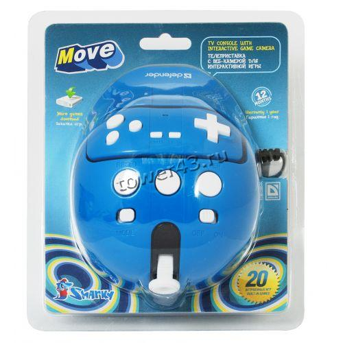 Игровая консоль Defender Sharky Move (синий) 20в1 ТВ приставка-камера, 16 бит