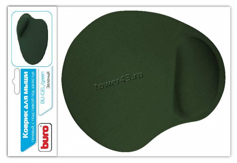 Коврик для мыши BURO гелевый BU-GEL с подушкой под запястье, 230х205х2.5мм (черный)