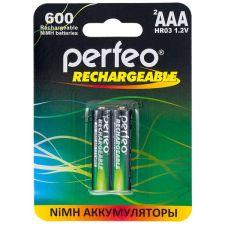 Аккумуляторы LR3/ААА Perfeo, 1.2V, 600mAh - 2 шт Купить