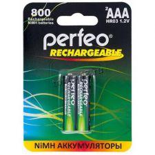 Аккумуляторы LR3/ААА Perfeo, 1.2V, 800mAh - 2 шт Купить