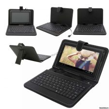 """Чехол-клавиатура для планшета 7-8"""" КНИЖКА-подставка на передвижном креплении черная, microUSB Купить"""