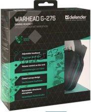 Наушники+микрофон Defender Warhead G-275 зелено-черные, кабель 1,8 м, игровые, регулятор громкости Цена