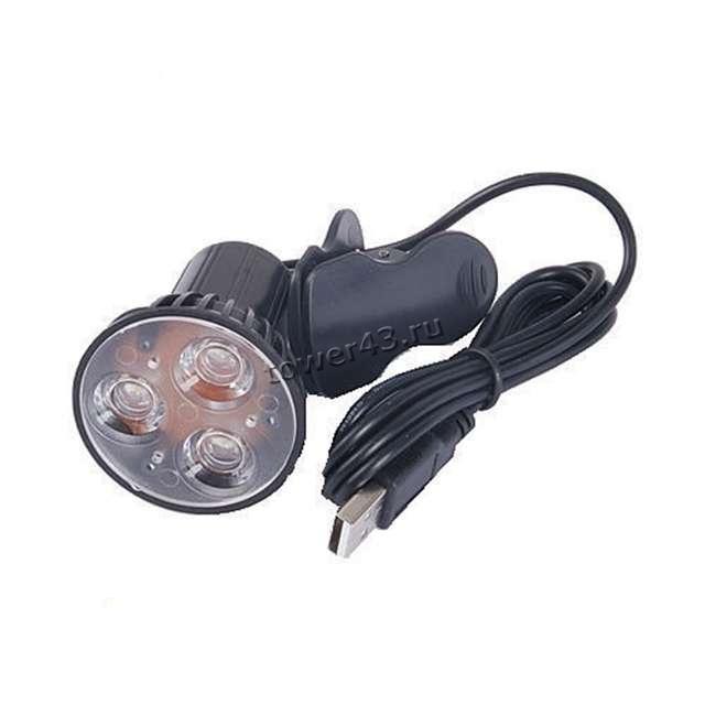Светильник для ноутбука на прищепке, питание от юсб, 3 ярких светодиода, черный, на шарнире