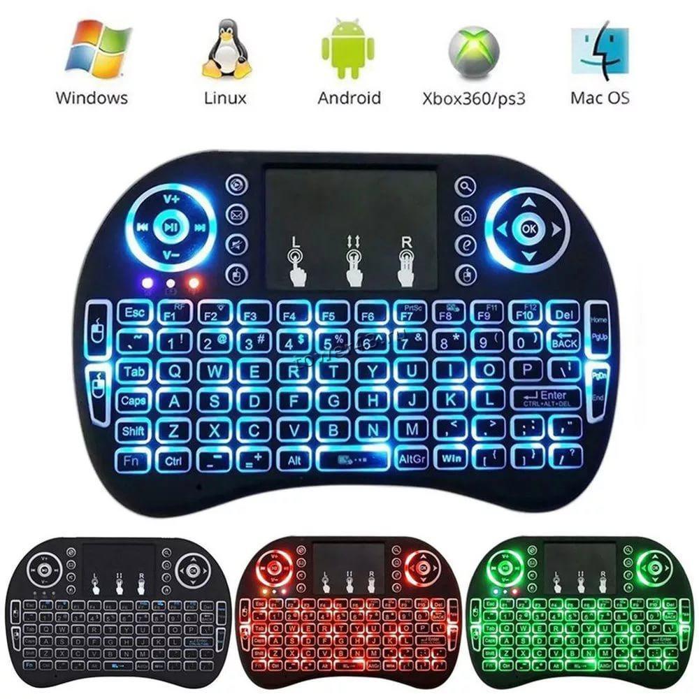 Клавиатура-пульт i8 для Android TV устройств беспроводная, блютуз, до10м, с тачпадом, подсветка, акб