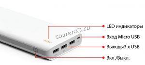 Внешний мобильный аккумулятор IconBit FTB20000PB 20000mAh белый Цена