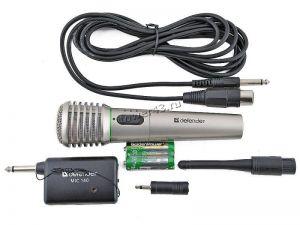 Микрофон Defender MIC-140 динамический для караоке, металл (беспроводной, проводной, с переходником) Купить