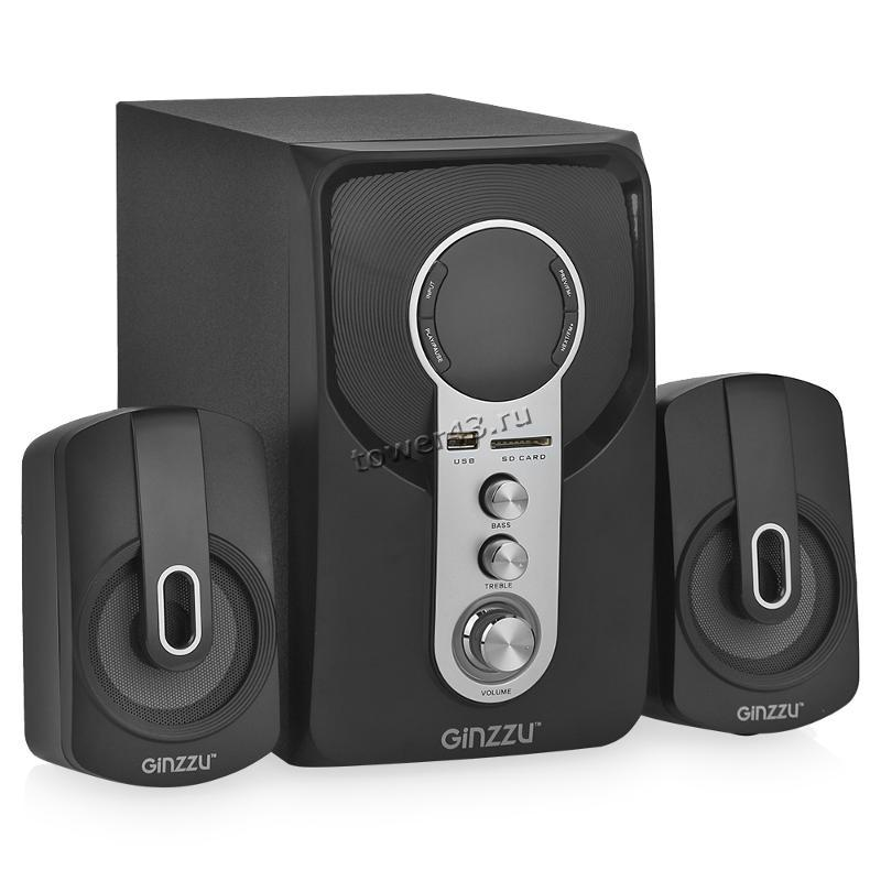 Колонки GINZZU GM-405, 40W=20W+2x10W /блютуз /USB/SD /FM-радио /пульт ДУ