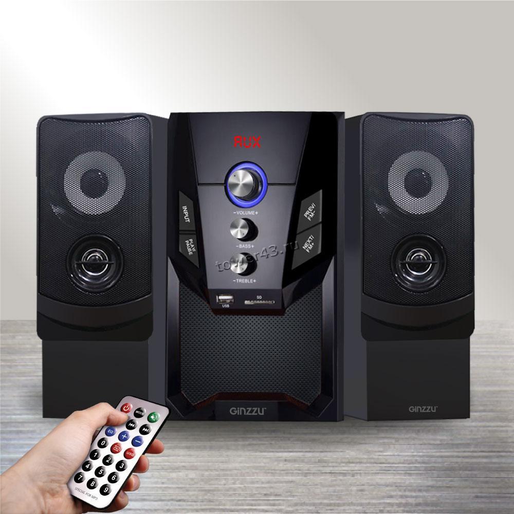 Колонки GINZZU GM-415, 50W=30W+2x10W /блютуз /USB/SD /FM-радио /пульт ДУ
