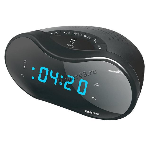 Радиобудильник СИГНАЛ CR-153 (Россия) черный, синие буквы