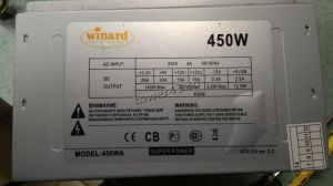 Блок питания Winard 450W ATX v2.2, 120mm, 24+4pin, 2xSATA, 2xMolex, OEM Купить