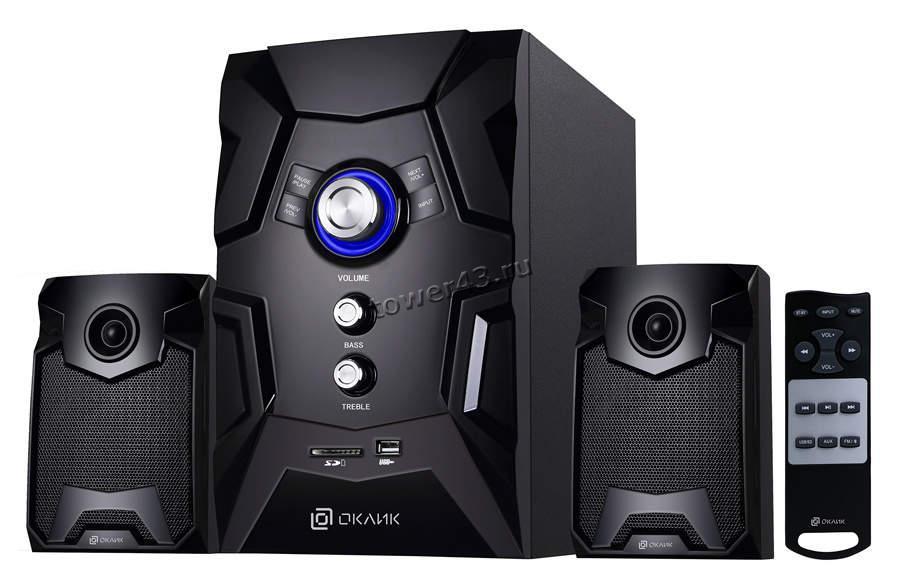 Колонки Oklick OK-430 Bluetooth /SD /USB 18W+2x2,5W=23Вт, чёрный, 2.1, пульт ДУ