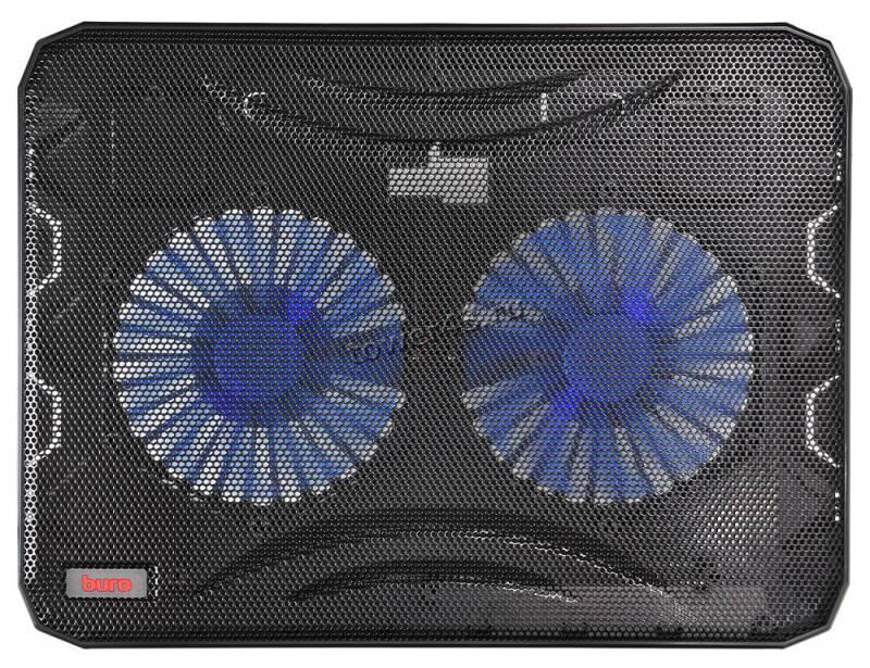 """Подставка под ноутбук охлаждающая Buro BU-LCP156-B214 с LED подсветкой 15,6"""", 2*Fan 14cm"""