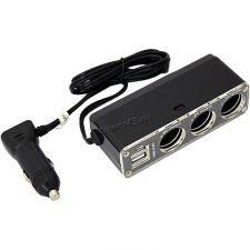 Разветвитель прикуривателя в авто на 3 устройства, с USB, со шнуром Купить