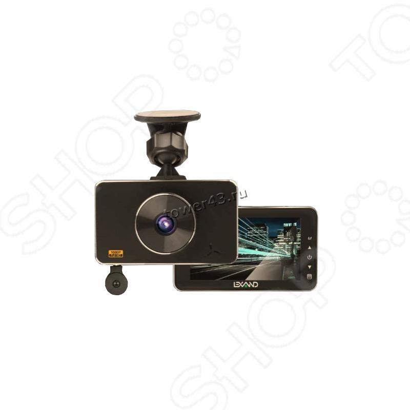 """Автомобильный видеорегистратор LEXAND LR85 DUAL, 3"""", 1920х1080х30к/с, 6сл.линз Sony,140гр, АКБ300mAh"""