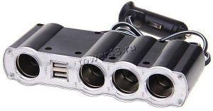 Разветвитель прикуривателя в авто на 4 устройства, USB, со шнуром и выключателями Купить