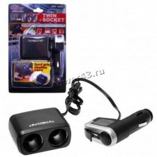 Разветвитель прикуривателя в авто на 2 устройства, с 2xUSB 3A, со шнуром (WF-0097/WF-102) Купить