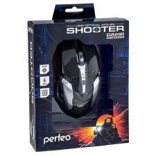 Мышь PERFEO SHOOTER PF-1709-GM игровая, 800 /1200 /1600 /2400dpi, USB, 6кнопок, подсветка Цена