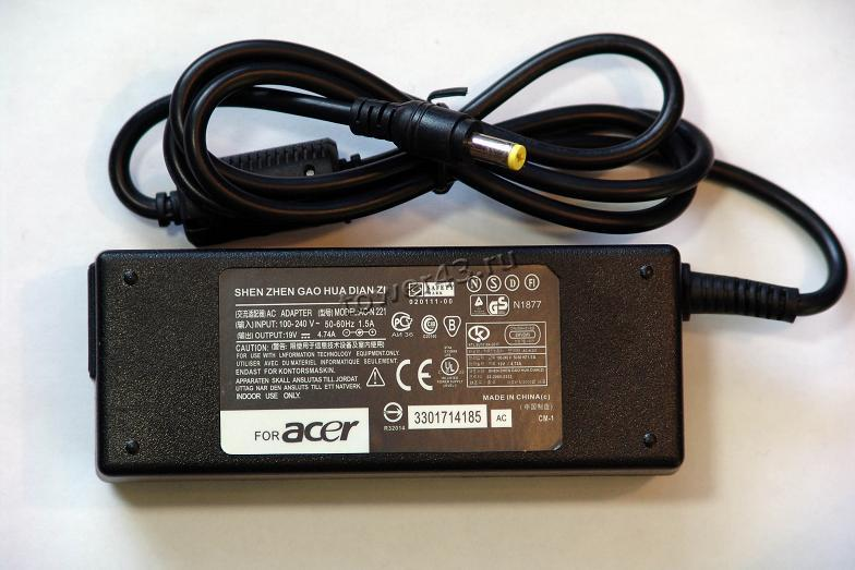 Сетевой адаптер питания для ноутбуков ACER оригинал выход 19В, 4.74A, 90Вт, 5.5мм х 1.7мм