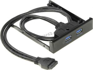 """Планка 2 порта USB3.0 на переднюю панель 3.5"""" системного блока, черная Купить"""
