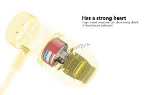 Наушники QKZ X5 вкладыши канальные, желт.металл, тканевый шнур, футляр, позол.разъем, 4вида насадок Сколько стоит