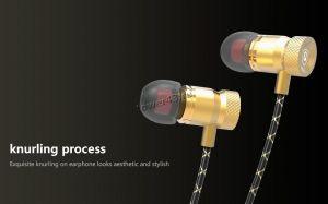 Наушники QKZ X5 вкладыши канальные, желт.металл, тканевый шнур, футляр, позол.разъем, 4вида насадок Купить