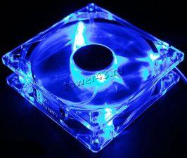 Вентилятор 80x80х25 molex/3pin connector (прозрачный, с синей подсветкой) Купить
