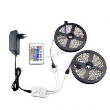 Лента светодиодная 2х5м (RGB, 300хLED5050) с адаптером 12В 4А, пультДУ 24кнопки (без батарейки) Купить