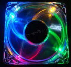 Вентилятор 80x80х25 molex connector (прозрачный, с 4х цветной подсветкой) Цена