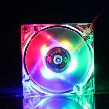 Вентилятор 80x80х25 molex connector (прозрачный, с 4х цветной подсветкой) Цены
