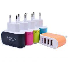 Сетевое зарядное устройство 220В -> 3xUSB 3.1A 15.5W (цвет в ассортименте) oem Купить