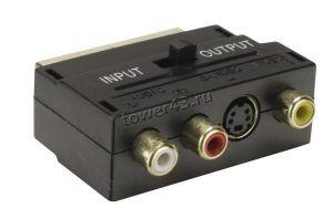 Переходник SCART - > 3 тюльпана +SVHS с переключателем направления сигнала Купить