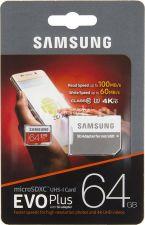 Память microSDXC 64Gb class10 Samsung EVO Plus, UHS-I U3 4К 100Mb/s Retail Купить