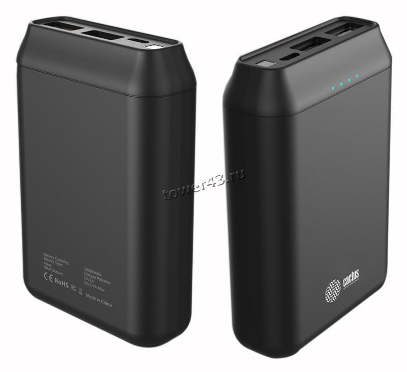 Внешний мобильный аккумулятор Cactus CS-PBFSST-20000 20 000 mAh, 2,4A+2A пластик (графит)