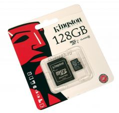 Память microSDXC 128Gb class10 Kingston, UHS-I U1 80Mb/s с адаптером Retail Купить
