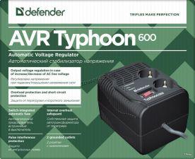 Стабилизатор напряжения DEFENDER Typhoon 600 600VA 200Вт, 2 розетки, Uвх=175-285В Цена