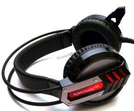 Наушники+микрофон Oklick HS-L450G ARROW  (черный/красный) игровые с регулятором громкости, подсветка Цена