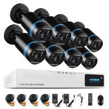 Комплект видеонаблюдения H.View, регистратор на 8 камеры, ПДУ, мышь, кабели, 8 FullHD AHD камеры 2mP Купить