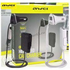 Автомобильное зарядное устройство AWEI C-400 4хUSB выхода (9600mAh) провод 1.8м. (черный) Цена