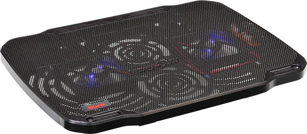 """Подставка под ноутбук охлаждающая Buro BU-LCP156-B208 с LED подсветкой 15,6"""", 2*Fan 8cm, USB"""