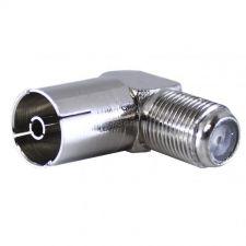 Переходник коаксиального кабеля F гнездо - ТВ гнездо (метал. угловой) Купить