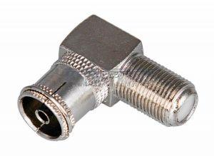 Переходник коаксиального кабеля F гнездо - ТВ гнездо (метал. угловой) Цена