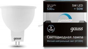 Лампа светодиодная (LED) GAUSS LЕD MR16 GU5.3-dim 5W 3000K 500Лм step dimmable Купить