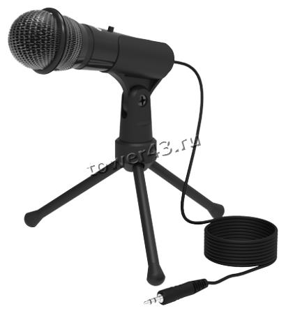 Микрофон Ritmix RDM-120 на треноге, черный, с регулируемым углом наклона, кнопка выключения