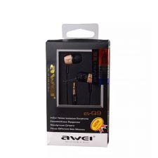 Наушники AWEI ES-Q9 вкладыши черные с деревом, шнур в тканевой оплетке Цена