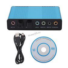 Звуковая карта внешняя USB 6канальная, съемный кабель, оптический вход/выход, метал.корпус Купить