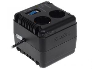 Стабилизатор напряжения SVEN VR-L1000, 320Вт, 2*CEE7/2 розетки, 230В, черный Купить