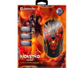 Мышь Defender Monstro GM-510L RGR подсветка 6кн. (игровая) (чёрный) 800-3200dpi Купить
