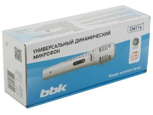 Микрофон BBK CM114 серебристый, шнур 2.5м, для караоке Цена