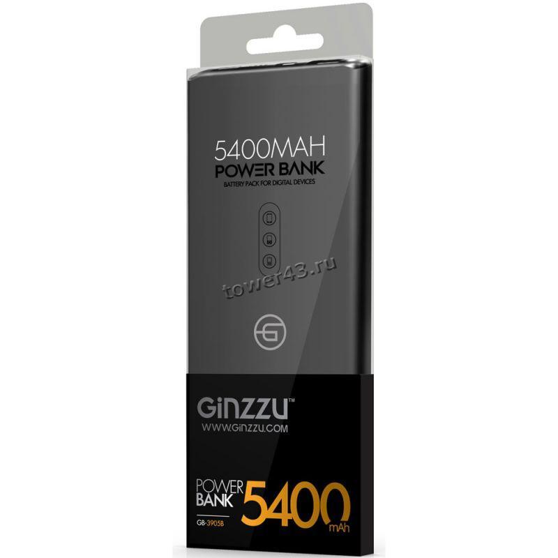 Внешний мобильный аккумулятор Ginzzu GB-3905B LiPol 5400mAh/5V/2A, ультра-слим, черный